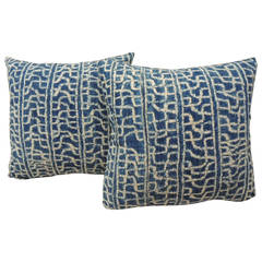 Pair of African Blue and Natural Pillows