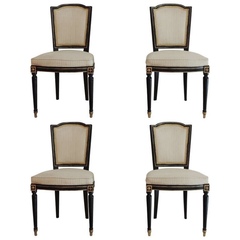 Set Of Four Maison Jansen Side Dining Chairs At 1stdibs