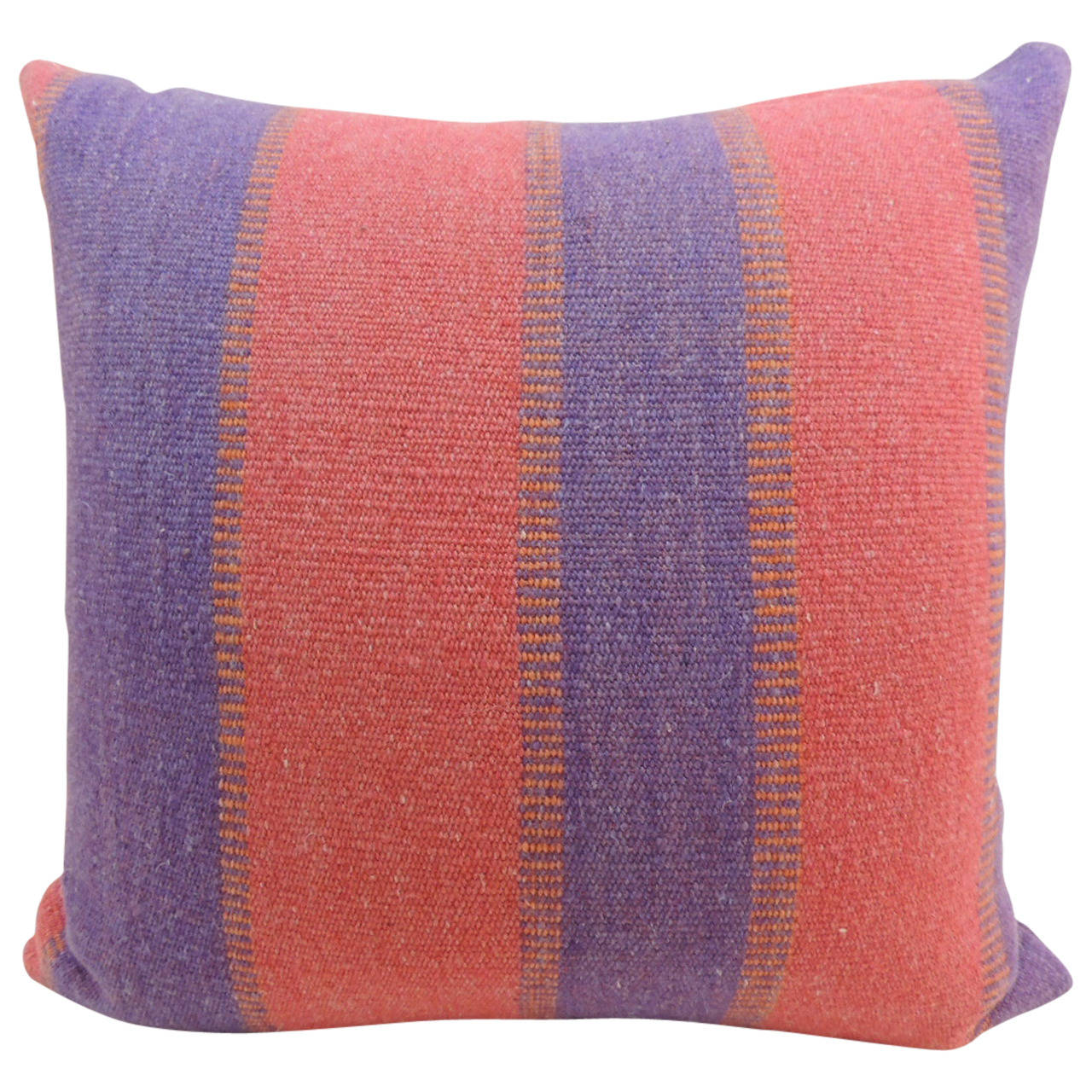 Vintage Red and Purple Stripe Alpaca Floor Decorative Pillow For Sale at 1stdibs
