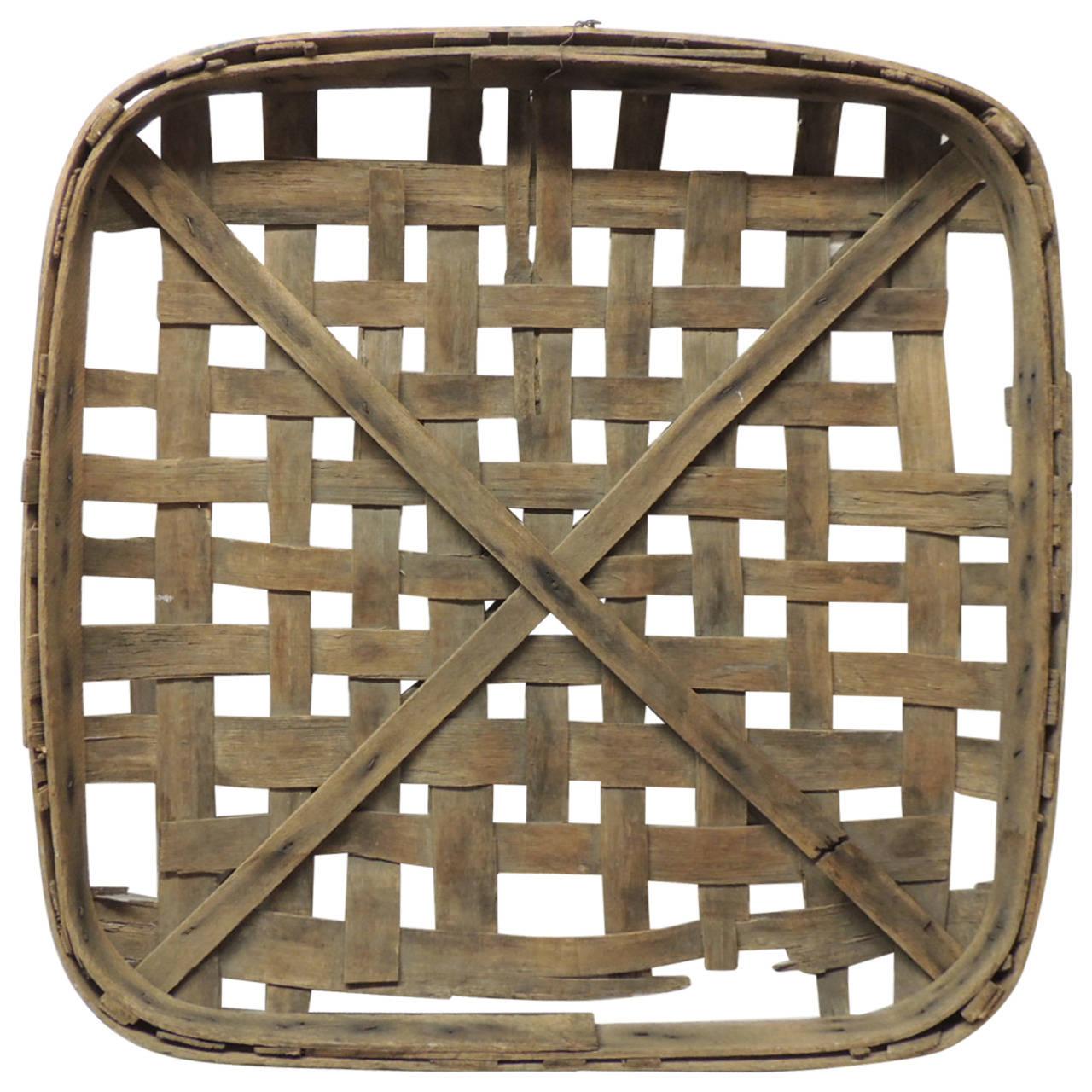 Large Tobacco Drying Flat Basket At 1stdibs