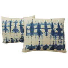 """Pair of """"Shibori"""" Blue and White Pillows"""