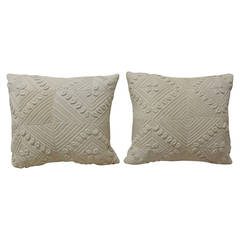 Pair of Crochet White Pillows