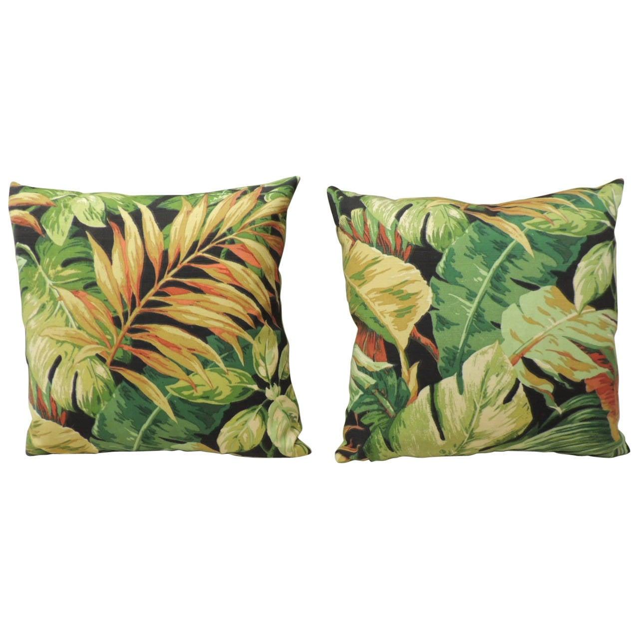 Pair of Green Tropical Leaf Barkcloth Decorative Pillows