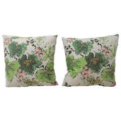 CLOSE OUT SALE: Pair of Green Barkcloth Decorative Pillows
