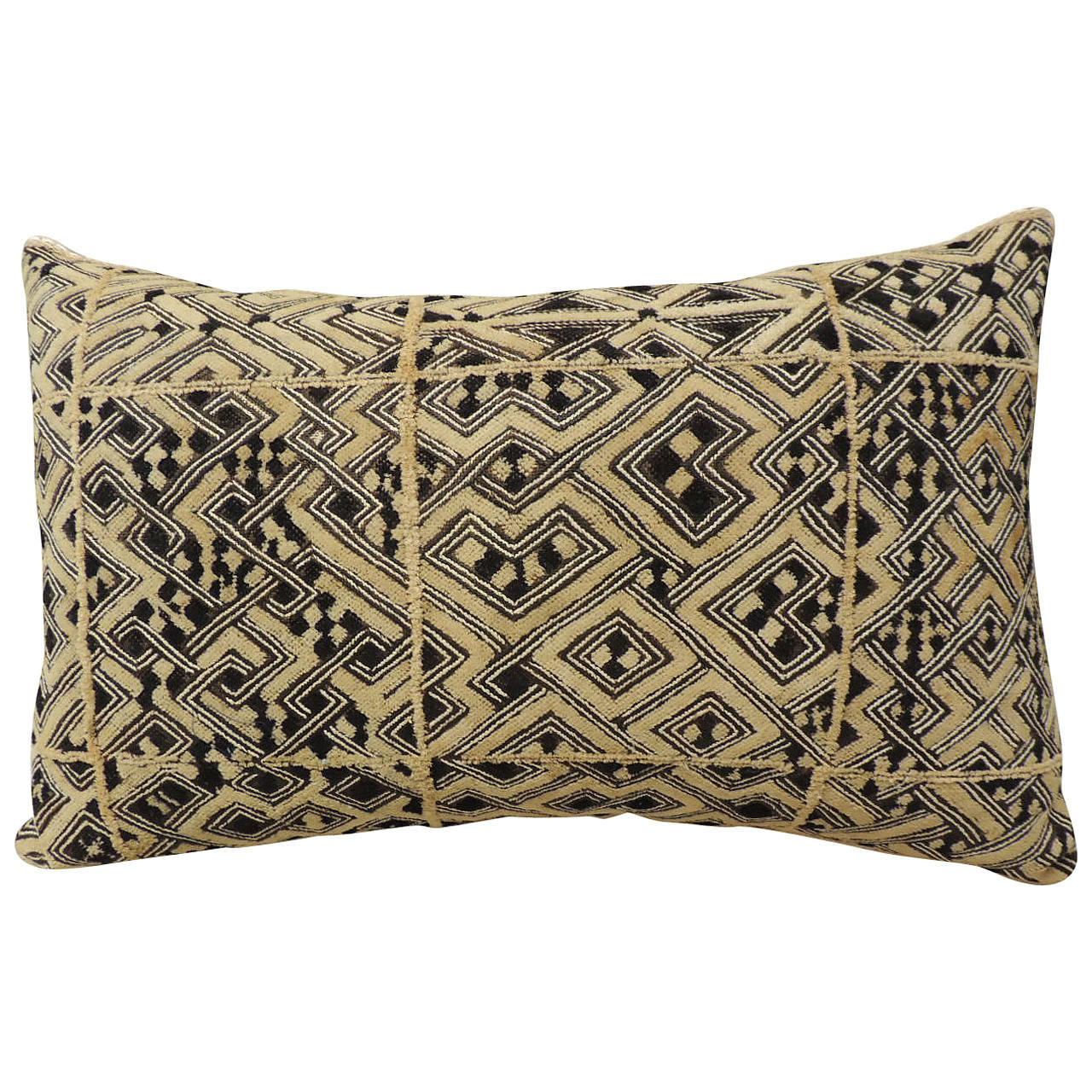 Large Vintage African Shoowa Raffia Velvet Bolster Decorative Pillow