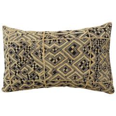 """African """"Shoowa"""" Raffia Velvet Patchwork Bolster Pillow"""
