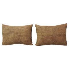 Pair of African Pink Kuba Artisanal Textile Bolster Decorative Textured Pillows