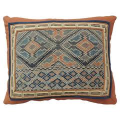 Antique Textile Orange Pillow