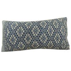 Blue and White Tribal Lumbar Pillow.