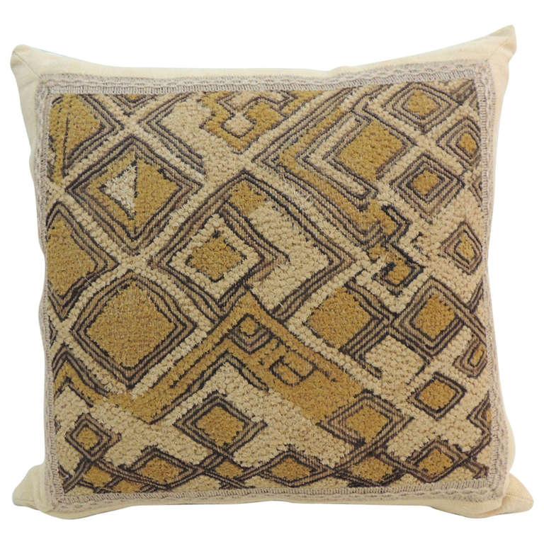CLOSE OUT SALE: African Raffia Velvet Pillow with Jute Trim Decorative Pillow