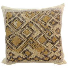 African Shoowa Green Raffia Velvet Pillow with Jute Trim Decorative Pillow