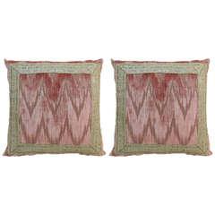 Pair of Antique Textile Flame Stitch Velvet Pillows