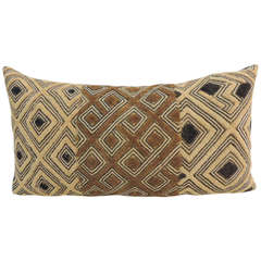 Antique African Shoowa Brown and Black Bolster Pillow