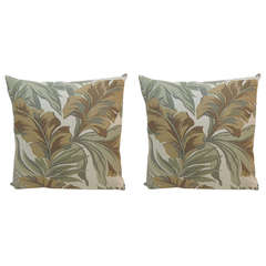 CLOSE OUT SALE: Pair of Green and Brown Banana Leaf Barkcloth Decorative Pillows