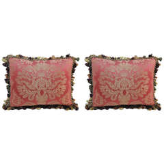 Pair of Red and Gold Damask Pillows with Fringe Trim