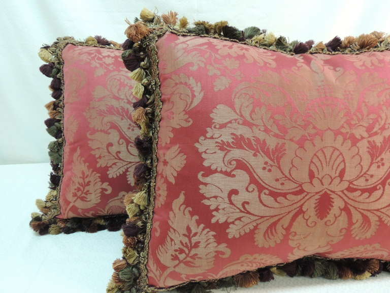 Regency Revival Pair Of Red And Gold Damask Pillows With Fringe Trim For