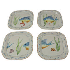 Set of Four Fish Plates by Vietri