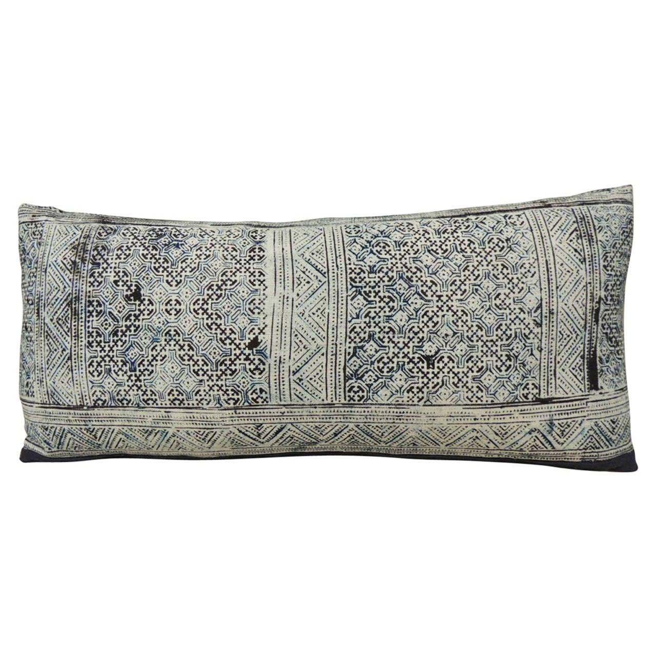 Hand Blocked Tribal Pattern Batik Bolster Pillow For Sale
