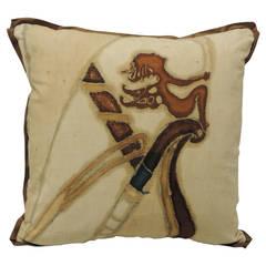 Art Deco Hand-Painted Linen Square Pillow