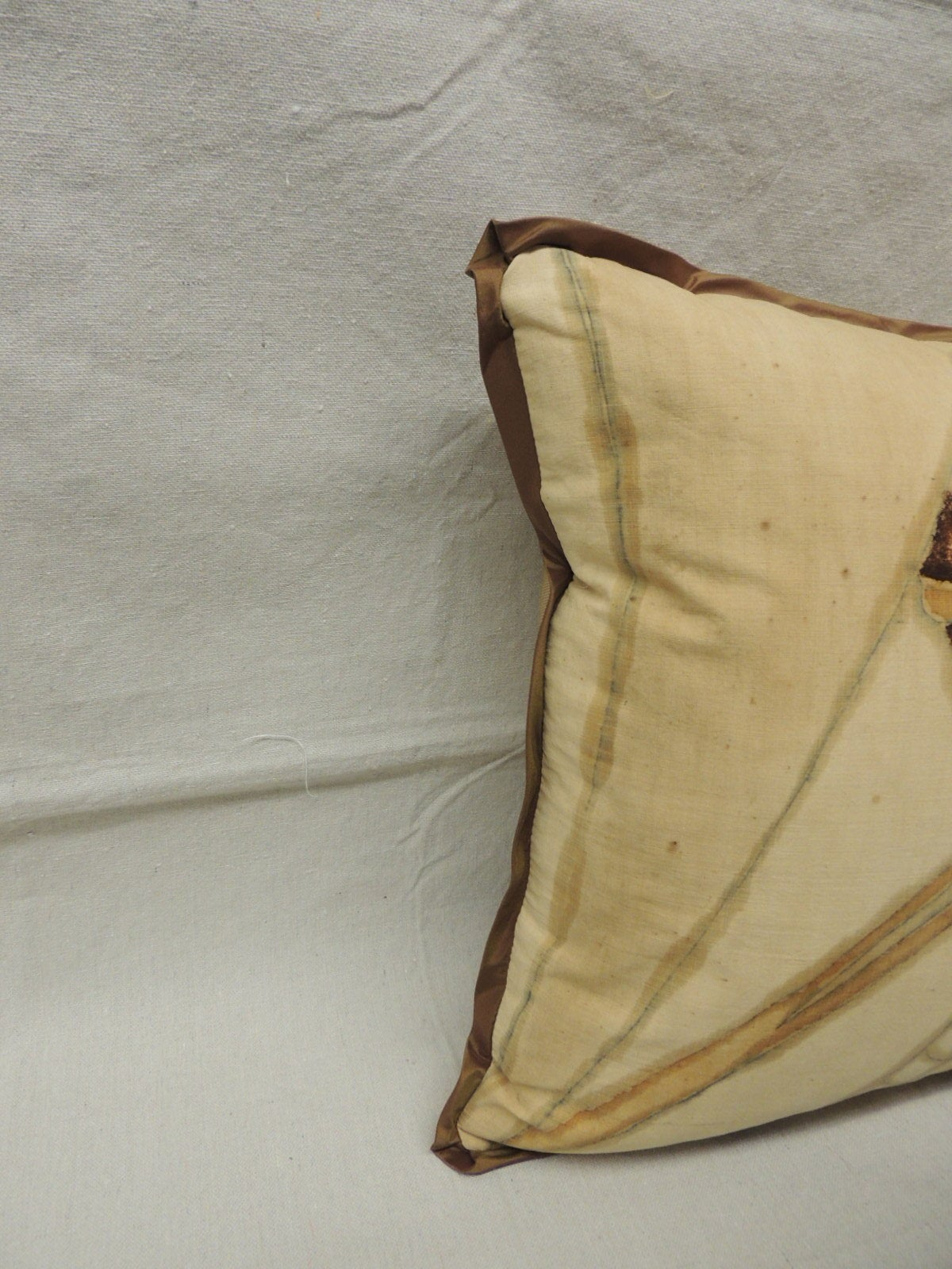 Art deco hand painted linen square pillow at 1stdibs for Hand painted pillows