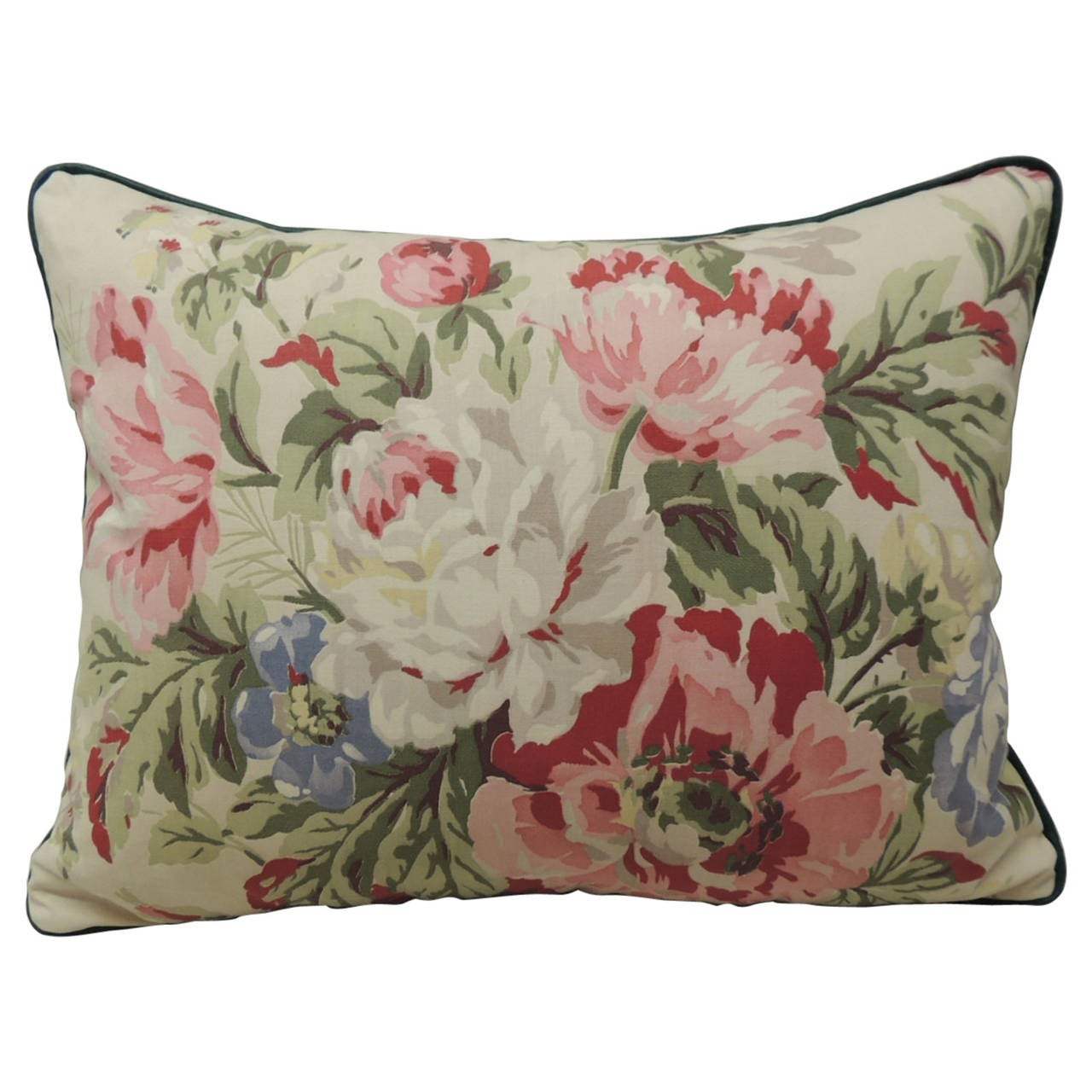 Large Decorative Bolster Pillows : Vintage Parrot Tulips Large Barkcloth Bolster Decorative Pillow For Sale at 1stdibs