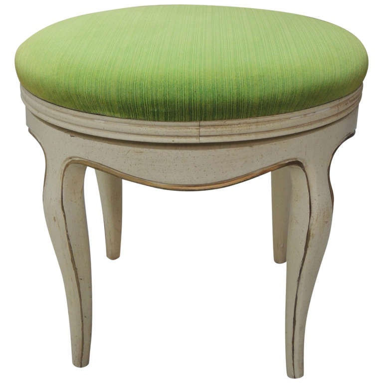 Green Velvet Upholstered Round Vanity Bench at 1stdibs