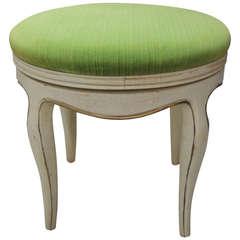 Green Velvet Upholstered Round Vanity Bench
