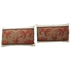 Pair of Fortuny Red Bolster Pillows