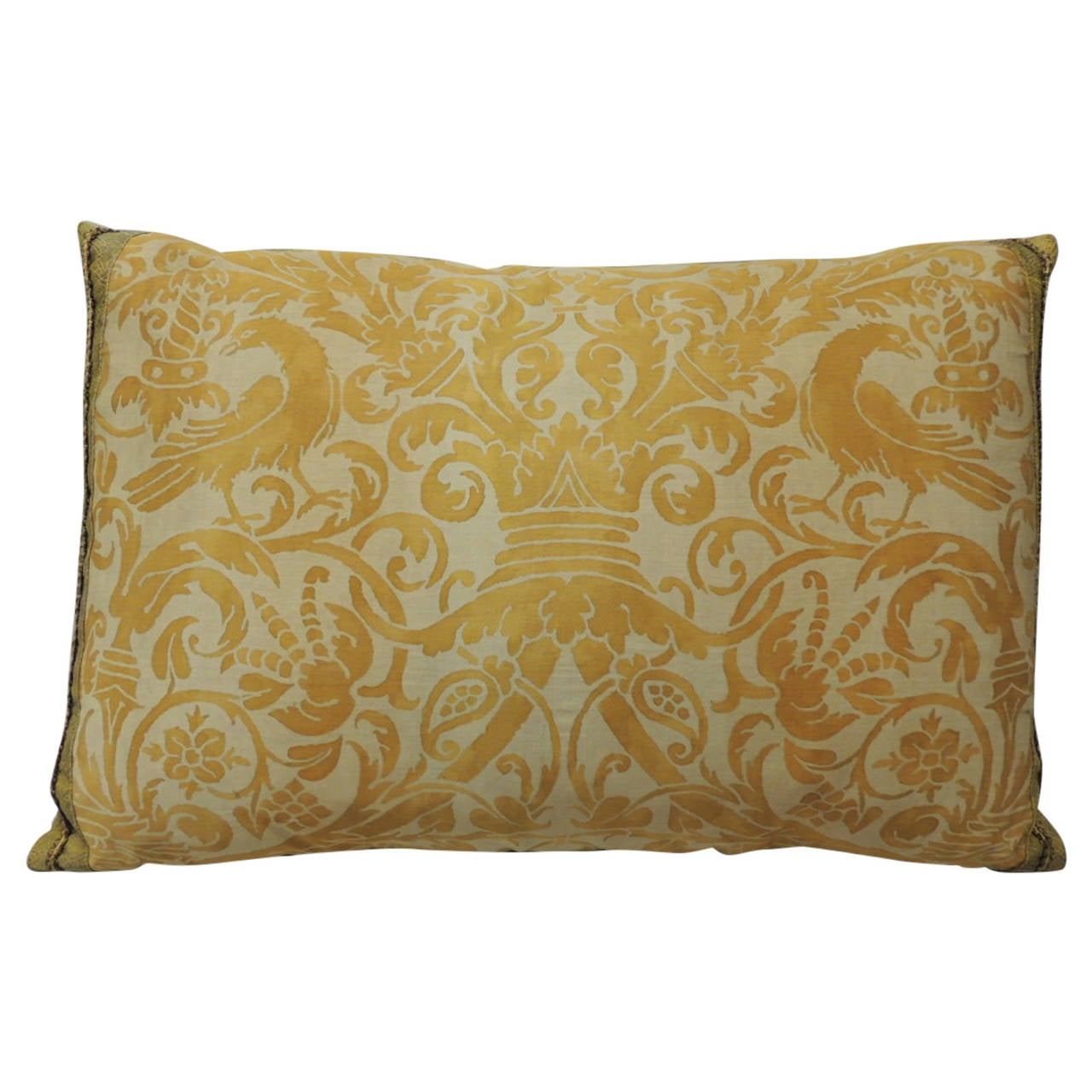 Throw Pillow Bolster : Vintage Yellow Fortuny Uccelli Bolster Throw Pillow For Sale at 1stdibs