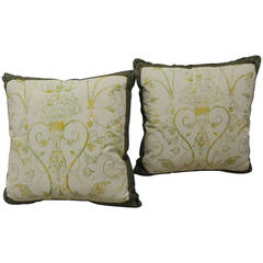 Pair of Verdigris Fortuny Style Floral Decorative Pillows