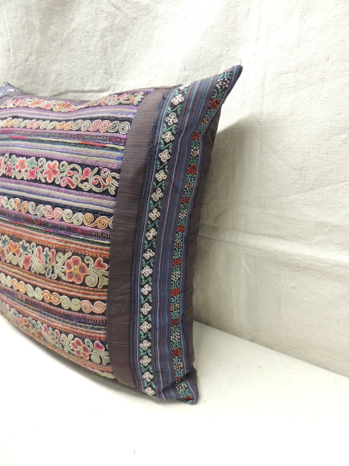 Vintage silk stripe embroidery miao pillows for sale at