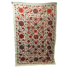 Large Vintage Embroidery Orange Floral Suzani Artisanal Textile
