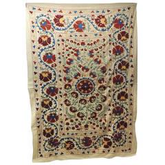 Large Vintage Embroidery Blue Floral Artisanal Suzani Textile