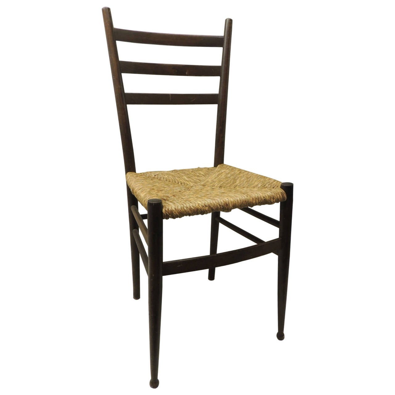 Italian ladder back side chair with rush seat at 1stdibs - Ladder back dining room chairs ...