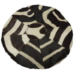 Vintage Round Patchwork of Zebra Skin