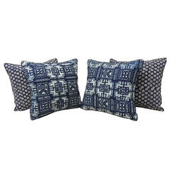 Set of Four Indigo Hand Blocked Waxed Indigo Pillows