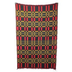 Vintage Red, Yellow and Blue African Adire  Artisanal Textile