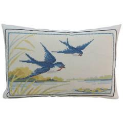 Vintage White Needlepoint Tapestry Pillow.