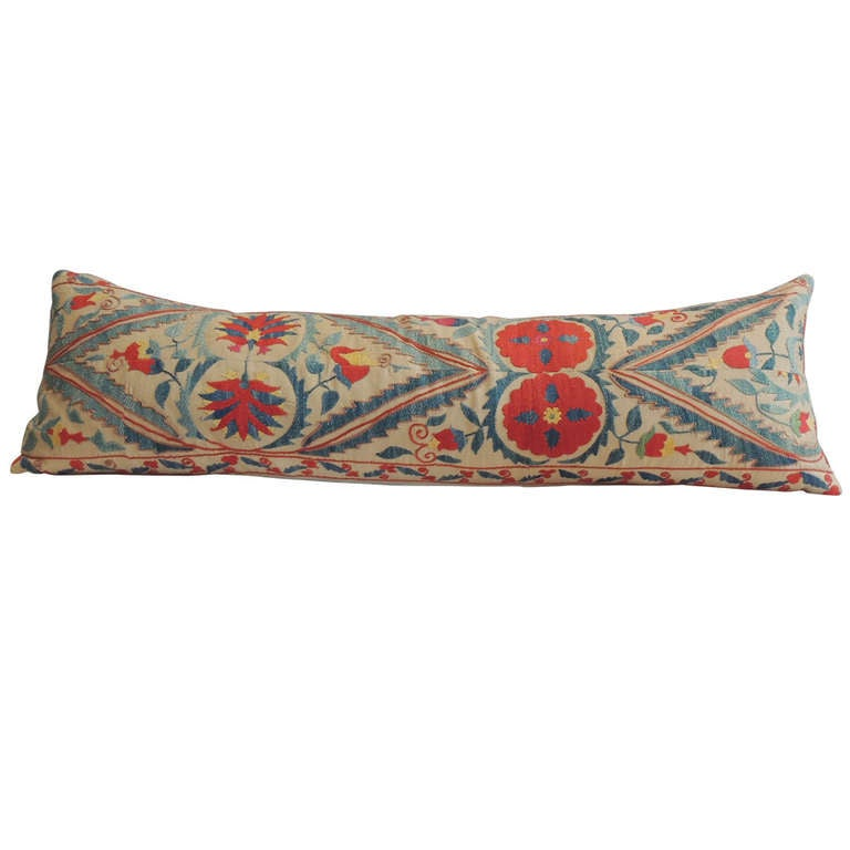 Large Decorative Bolster Pillows : Large Suzani Bolster Pillow. at 1stdibs