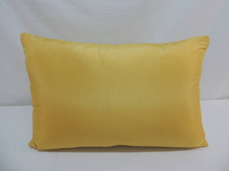 Yellow Silk Decorative Pillows : Yellow Silk Damask Pillow. at 1stdibs