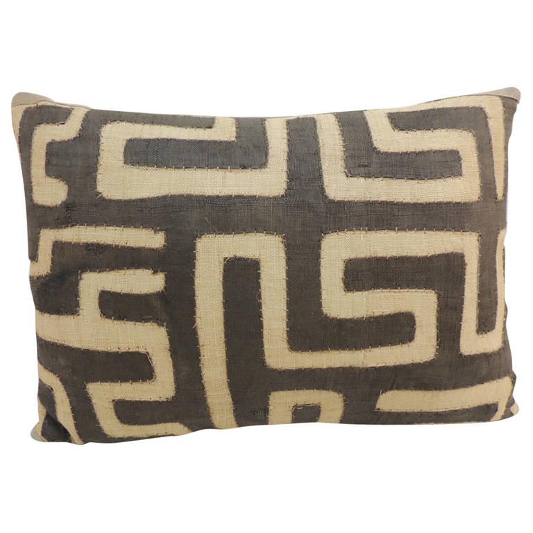 Antique Applique African Kuba Bolster Decorative Pillow