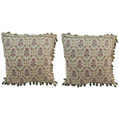 Pair of English Floral Pillows