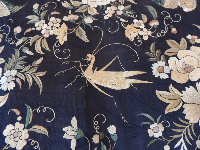 Wool Monumental Black and Gold Chinese Embroidery Silk Altar Cloth or Wall Hanging For Sale