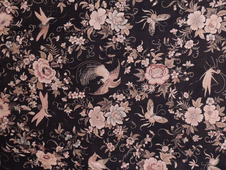 18th Century and Earlier Monumental Black and Gold Chinese Embroidery Silk Altar Cloth or Wall Hanging For Sale