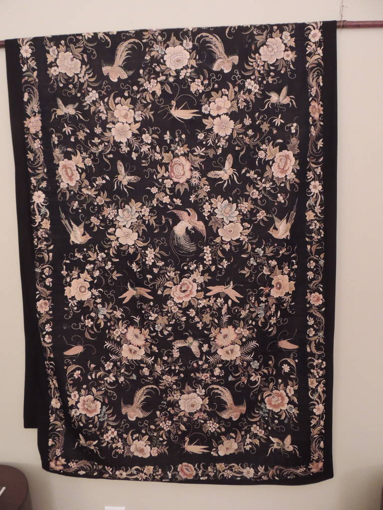 Chinoiserie Monumental Black and Gold Chinese Embroidery Silk Altar Cloth or Wall Hanging For Sale
