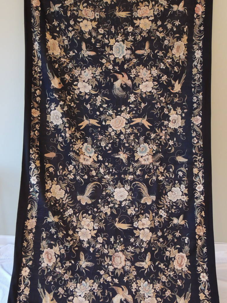 Hand-Crafted Monumental Black and Gold Chinese Embroidery Silk Altar Cloth or Wall Hanging For Sale