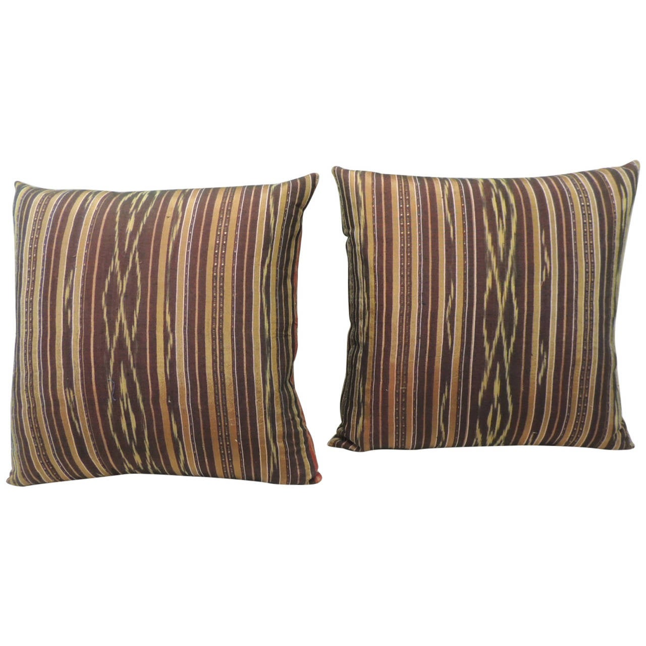Yellow Silk Decorative Pillows : Pair of Vintage Red and Yellow Silk Laos Decorative Pillows For Sale at 1stdibs
