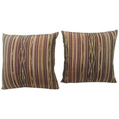 Pair of Vintage Red and Yellow Silk Laos Decorative Pillows
