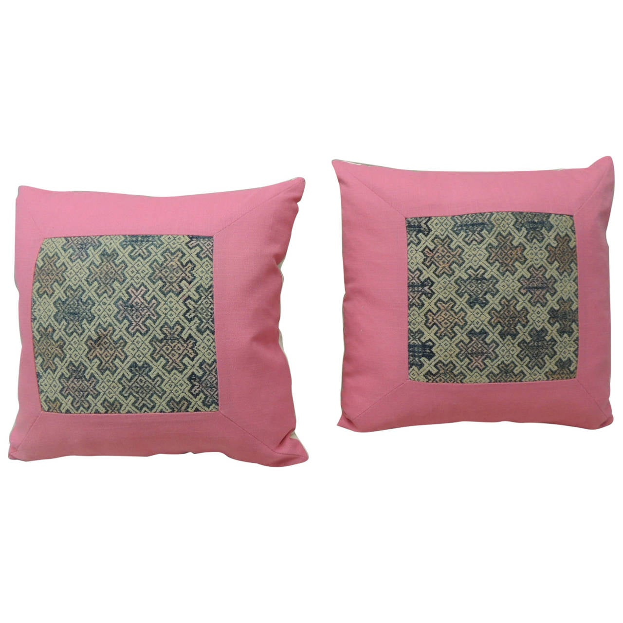 Blue And Pink Decorative Pillows : Vintage Pair of Pink and Blue Woven Linen Chinese Miao Decorative Pillows at 1stdibs