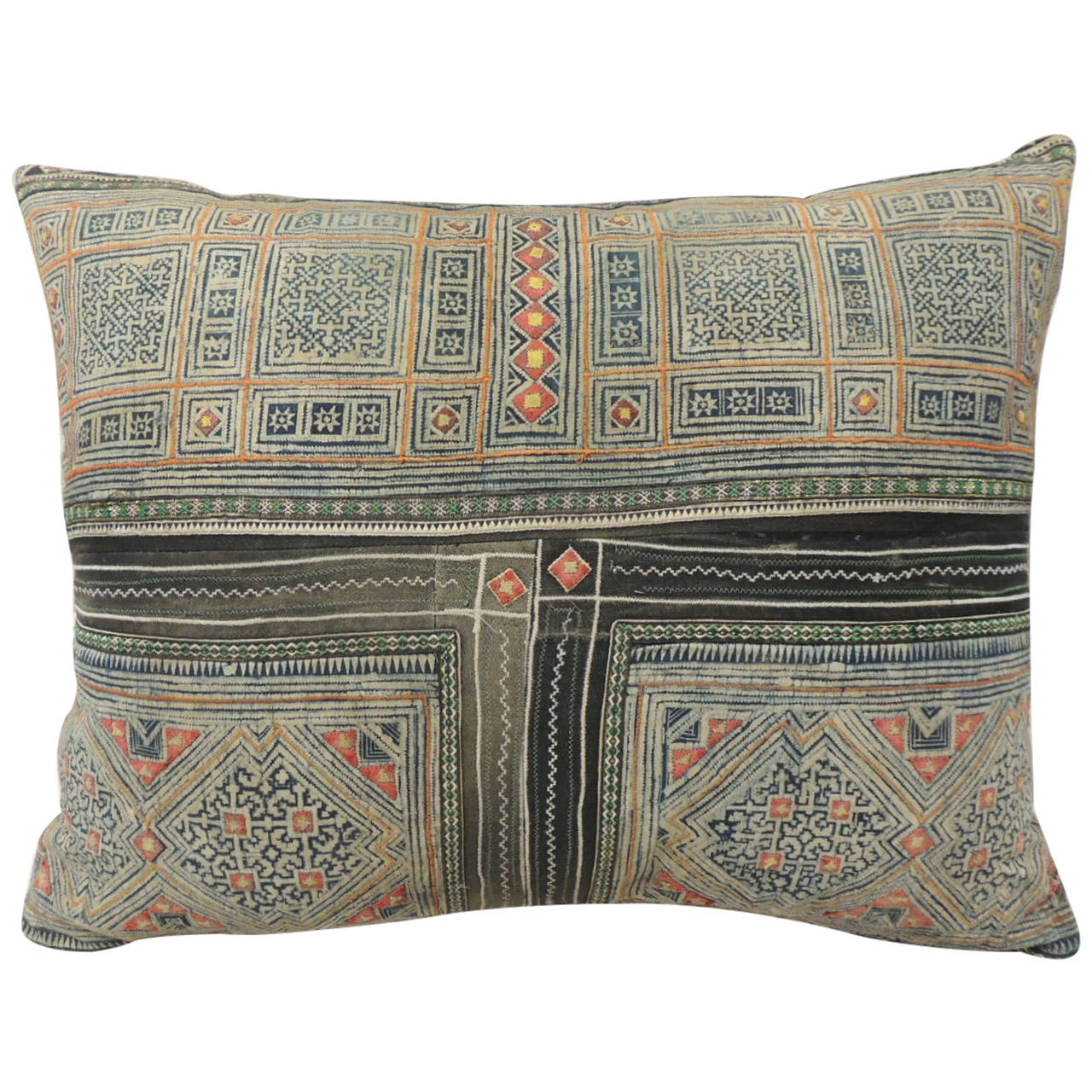 Large patchwork embroidery miao pillow at stdibs